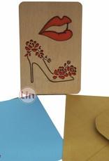 Holzkarte, Glückwunschkarte, Shopping Gutschein, Schuhe & Makeup, N607