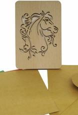 Wood greeting card, Horse
