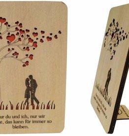 Grußkarte aus Holz, Valentinskarte, Hochzeitskarte, Liebe, Herz, N602