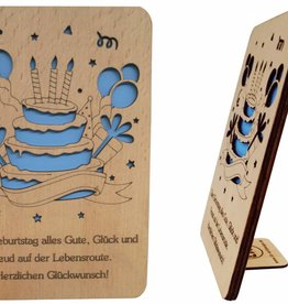 Grußkarte aus Holz, Glückwunschkarte, Geburtstagskarte, Geburtstagstorte, N600