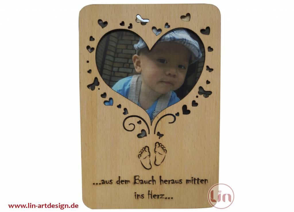 Grußkarte aus Holz, Glückwunschkarte, Geburtskarte, Herz Geburt, N604