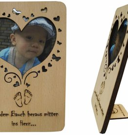 Wood greeting card, birth greetings