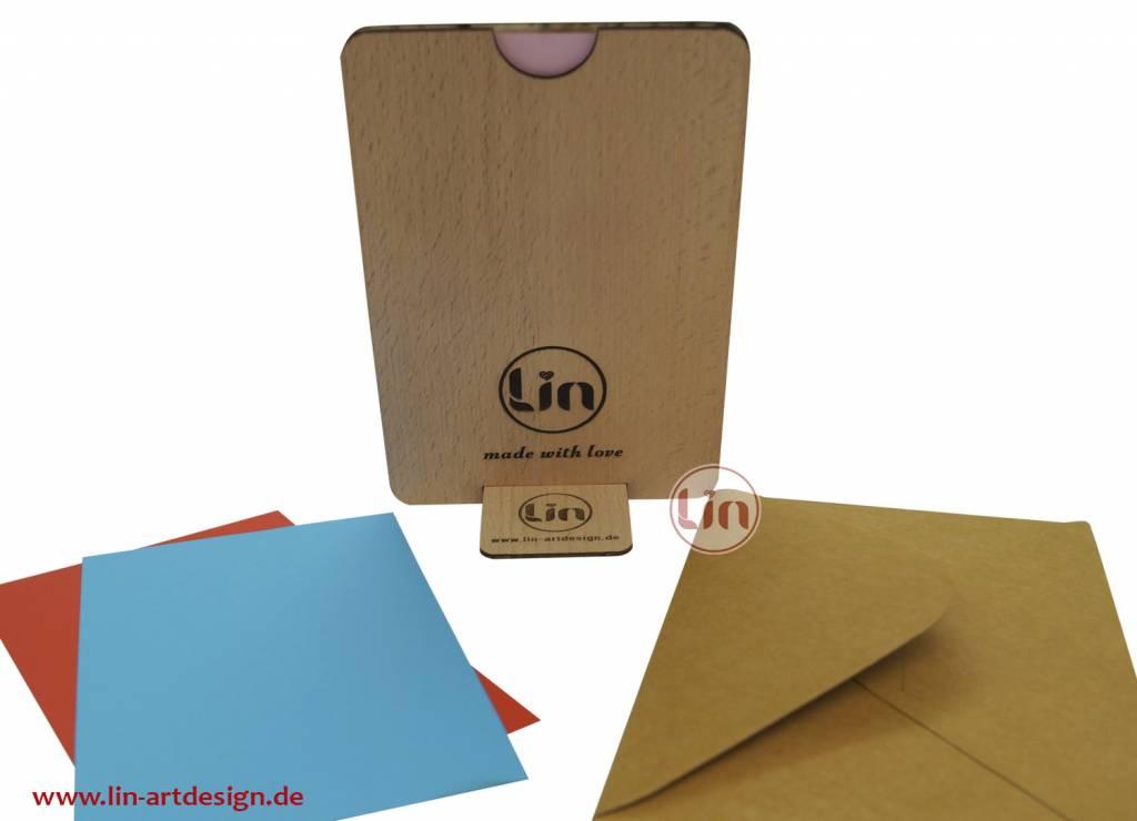 Wood greeting card, birth greetings