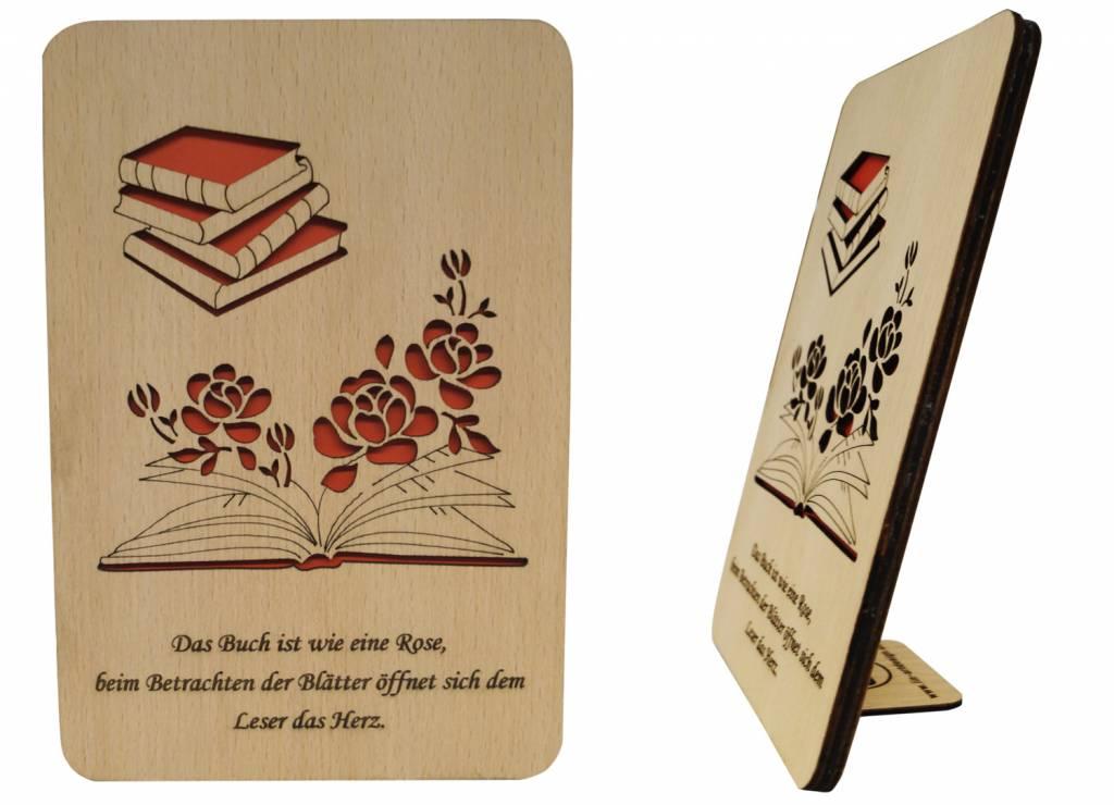 Holzkarte, Glückwunschkarte, Geburtstagskarte, Buch Gutschein, N605