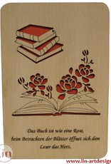 Wood greeting card, Books and roses