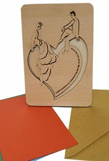 Wood greeting card, Bridal pair sitting on heart