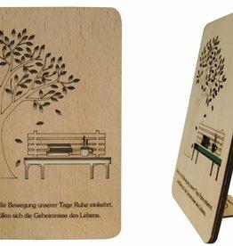 Grußkarte aus Holz, Glückwunschkarte, Geburtstagskarte, Ruhestand, Parkbank, N609