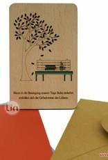 Holzkarte, Glückwunschkarte, Geburtstagskarte, Ruhestand, Parkbank, N609