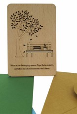 Wood greeting card, Park bench and calm