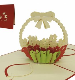 Pop up birthday card, flower arrangement (red)