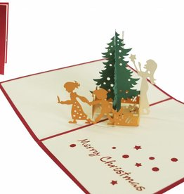Pop up christmas card, family decorating christmas tree