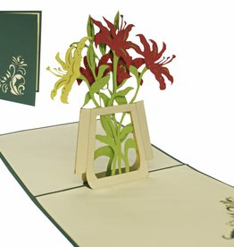 Pop up birthday card, lilies