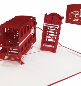 Pop up greeting card, London bus with phone booth
