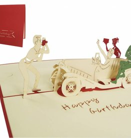 Pop up greeting card, party in oldtimer (red)