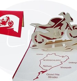 Pop up card, motor bike with map