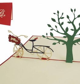 Pop up card, bicycle under tree