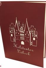 Pop Up 3D Karte, Glückwunschkarte, Reisegutschein, Lübeck Holstentor, N218