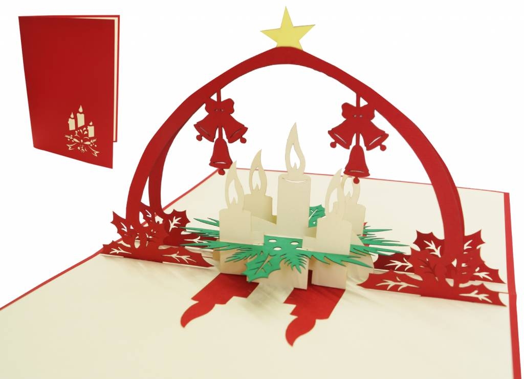 Pop up christmas card, Advent wreath, Advent candle, N436