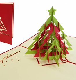 Pop up christmas card, christmas tree and stars