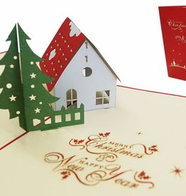 Pop up christmas card, house with christmas tree