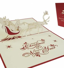Pop up christmas card, Santa inside sled (var. 2)