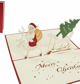 Pop up christmas card, Santa on reindeer