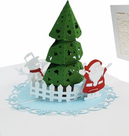 Pop Up Card, Christmas Tree, Santa And a Snowman (No. 701)
