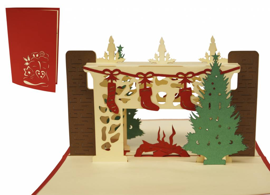 Christmas Pop Up Cards.Pop Up Christmas Card Christmas Fireplace Lin