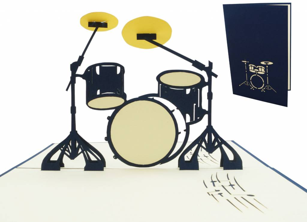 Pop Up Card Music Birthday Congratulations Drumset Concert Coupon
