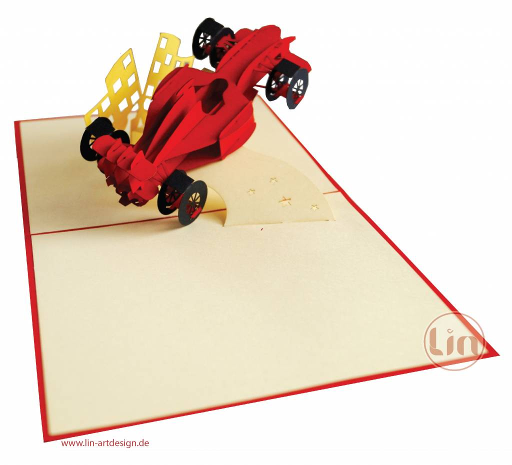 Pop up card, Birthday card, Racing car, Cars, kids birthdays, 3D cards,  formula 1 greeting card, No. 313