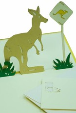 Pop-up card, birthday, 3d greeting card, Australia travel coupon,  Kangaroo, Outback, No. 297