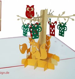 Pop up card birthday, 3d greeting card, animal cards, fox and owl in forest, N298