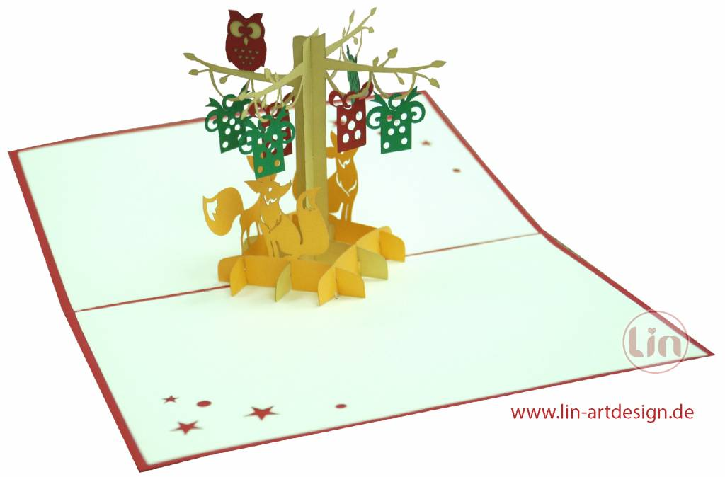 Pop up card birthday, 3d greeting card, school enrollment card, animal cards, nature, autumn, fall,  fox and owl in forest, N298