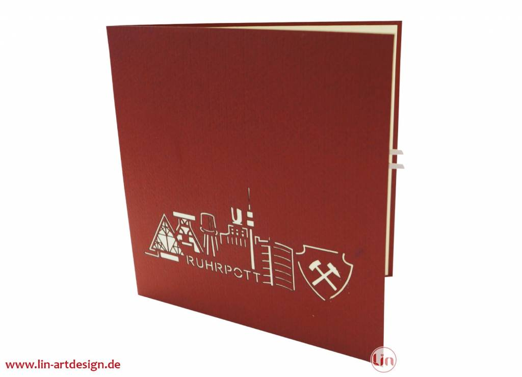 Pop up greeting card, Ruhrpott, North Rhine-Westphalia, Coal mining, football, soccer, city, No. 267