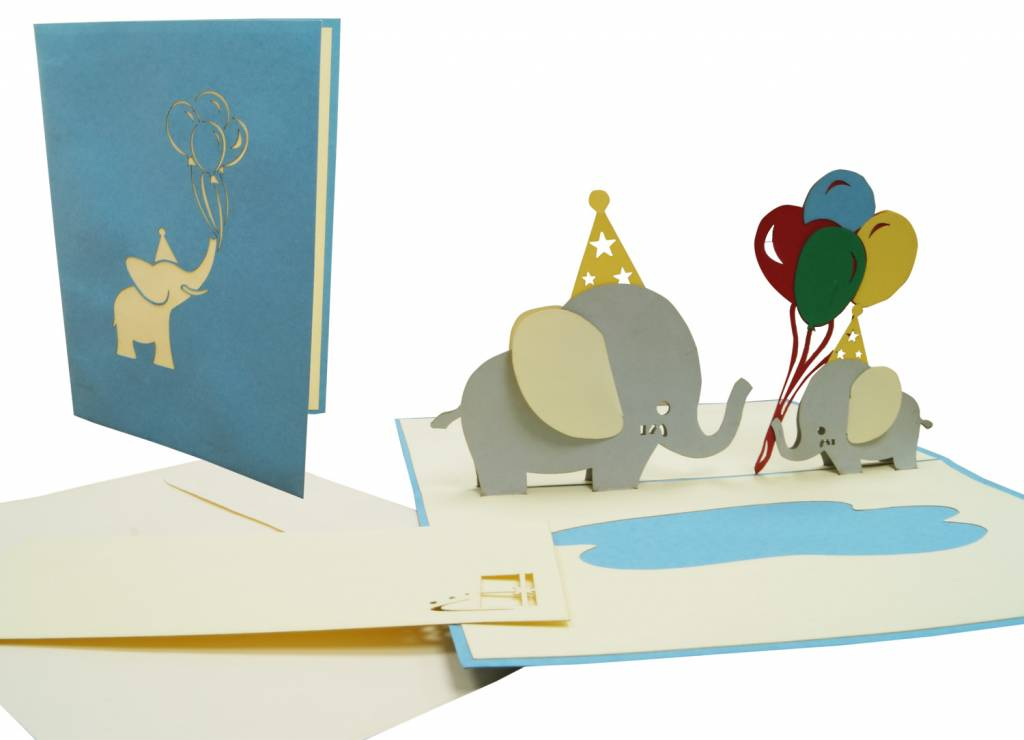 Pop Up Cards, Pop up card birthday, 3d greeting card, birthday card, baby,  It's a boy, It's a girl, Elephants, No. 288