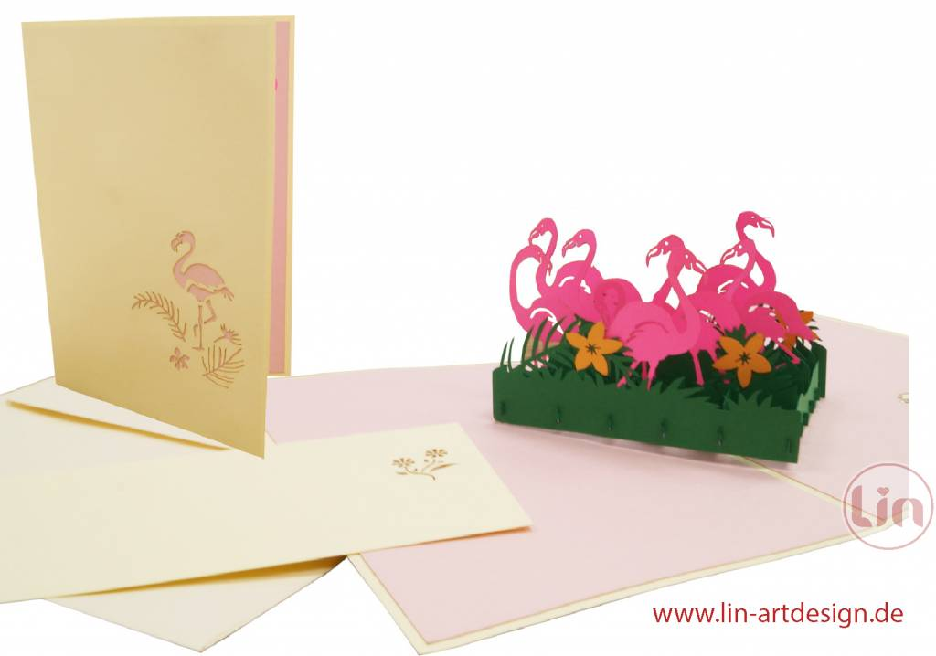 Pop Up Cards, Pop Up Birthday Card, 3D Greeting Card, Coupon, School Enrollment Card, Flamingo, No. 289
