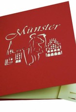 Pop Up greeting card, Travel Coupon Germany, Birthday Card Muenster, Town Tour Gift, Muenster, No. 294