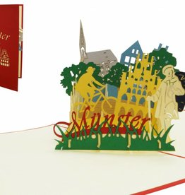 Pop Up greeting card, Travel coupon germany, birthday card münster, Town travel gift, Münster N294