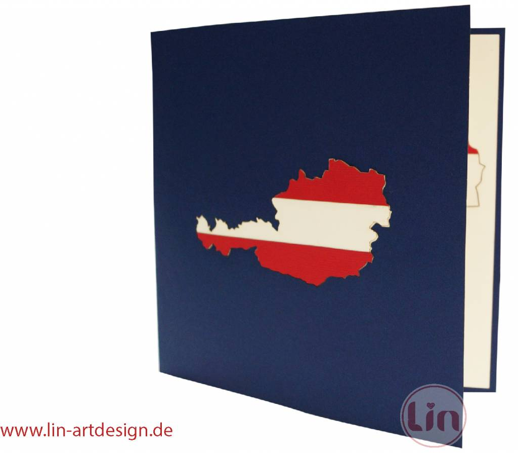 Pop up card Austria, Greeting Card, Travel Coupon, Birthday Card, Wien Skyline, No. 236