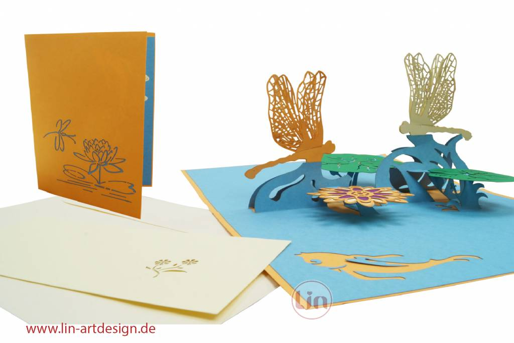 Pop up greeting card, flowers, nature, animals, mothers day card, birthday card, coupon, Pond with Dragonflies, No. 287