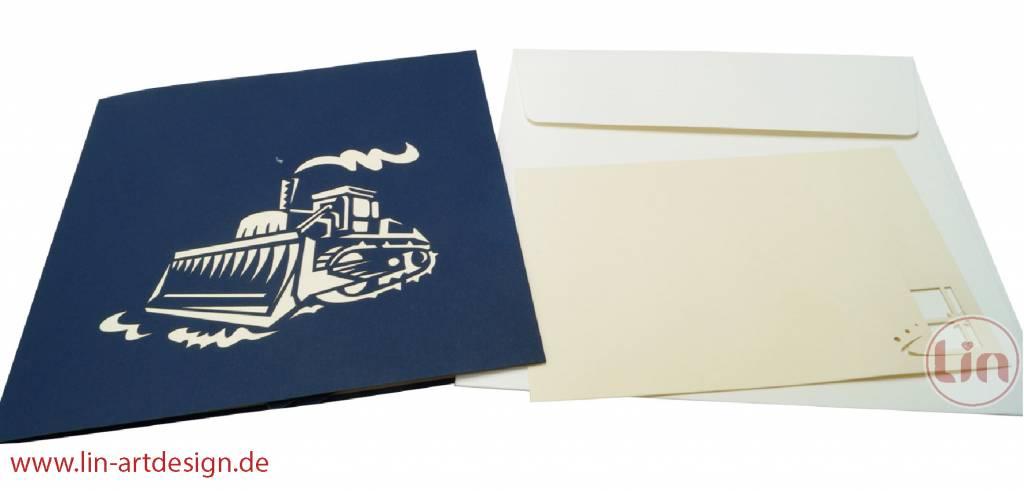 Pop Up Karten Bagger,Geburtstagskarte Kindergeburtstag oder Einschulung, Bagger N316
