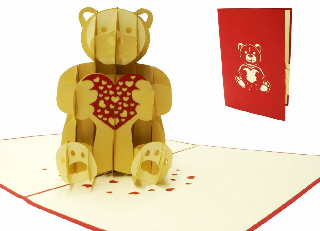 Pop up greeting card, 3D greeting card , Animal card, Birthday card Teddy bear, Bear with heart, No. 318