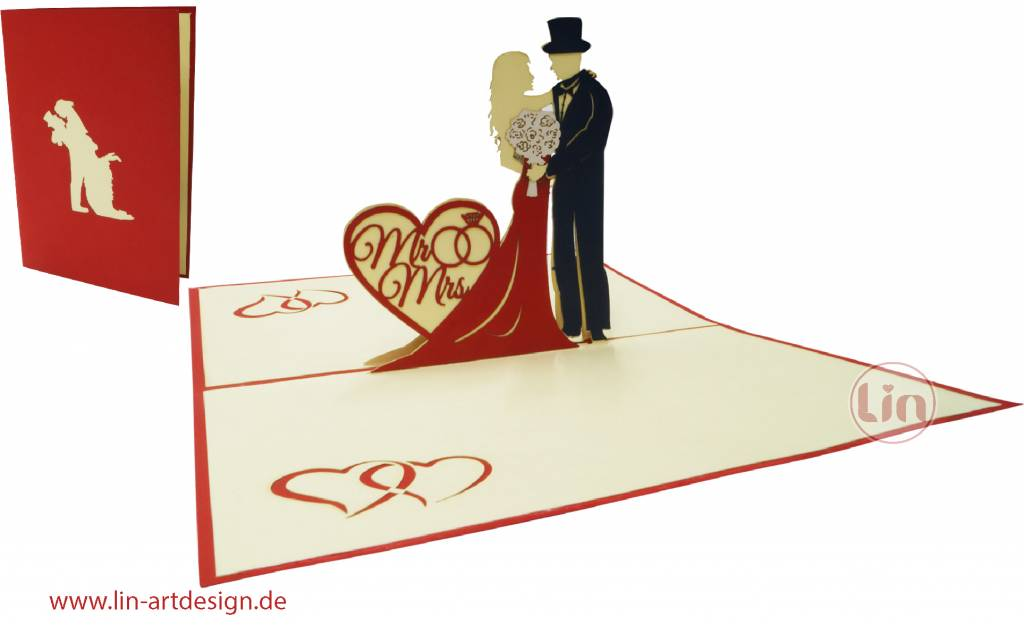 op up 3d wedding card, Pop up card wedding, Wedding Invitation and Wedding greetings,  Mr. & Mrs, No. 311