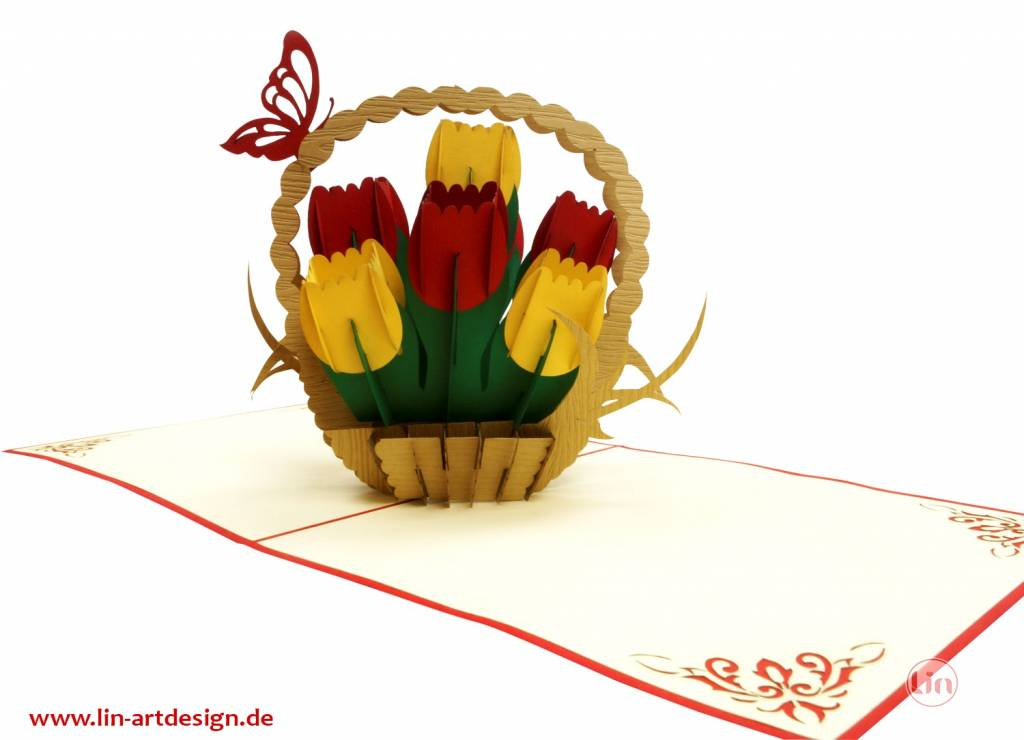 Pop up greeting card with flowers, Birthday greeting card, Mother's day, Boquet, Nature, Tulip Basket N322