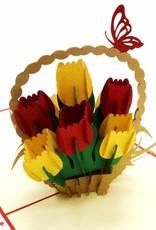 Pop Up Grußkarte Blumen,  Geburtstagskarte, Muttertag, Blumen, Blumenstrauß, Tulpenkorb N322