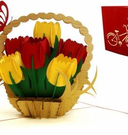 Pop Up Grußkarte Blumen,  Geburtstagskarte Muttertag,  Tulpenkorb N322