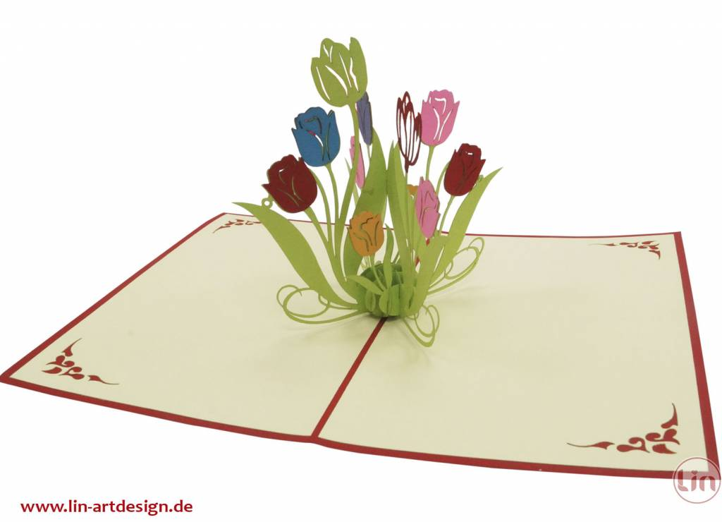 Pop up greeting card with flowers, Birthday greeting card, Mother's day, flowers, nature, Tulips, No. 337
