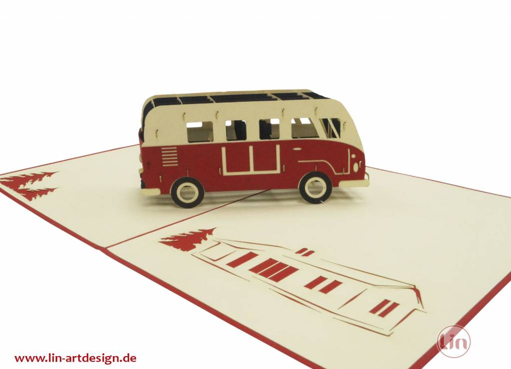 Pop up greeting card with car, Birthday greetings for car fans, Holidays, Red Van, No. 334