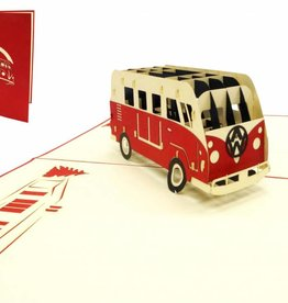 Pop up greeting card with car, Birthday greetings for car fans, Red Van N334