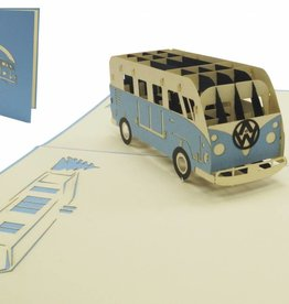 Pop up greeting card with car, Birthday greetings for car fans, Blue Van N333